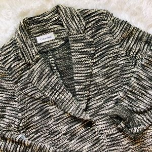 CALVIN KLEIN • Black + White Knit Button Blazer 12